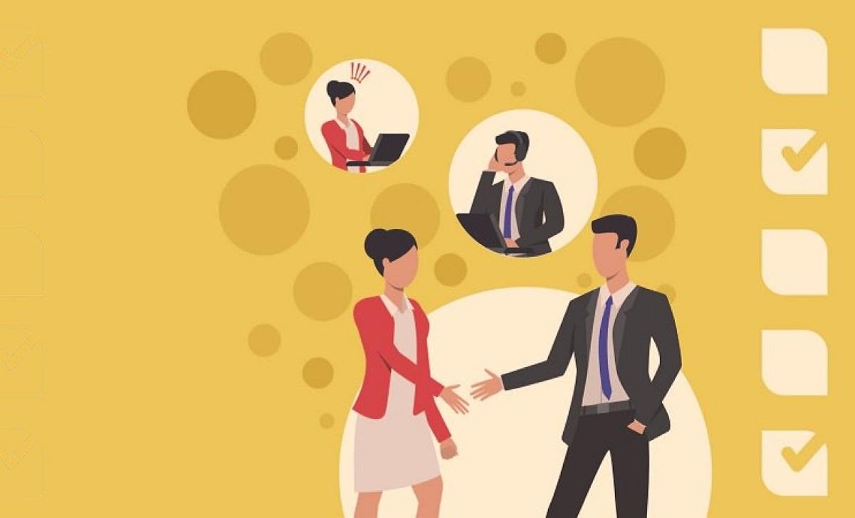 Dos personas queriendo resolver quejas de los clientes en la franquicia